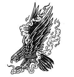 smoky eagle - black and white design vector image