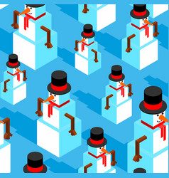 snowman isometric pattern christmas background vector image