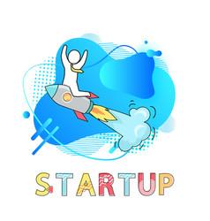 Startup business development and rocket launch vector