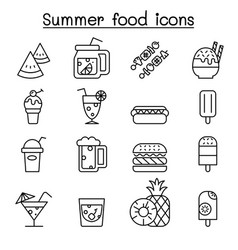 summer food icon set in thin line style vector image