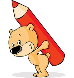 Teddy bears carry pencil on the back vector image