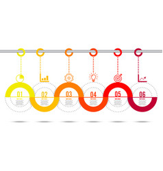 Template timeline infographic colored horizontal vector