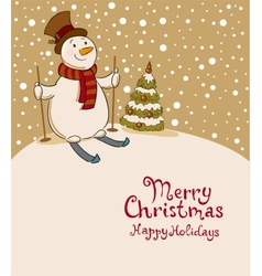 The snowman on skis cozy retro Christmas card vector image
