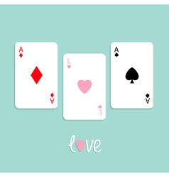 Three ace card love pink flat design vector