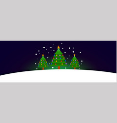 three christmas tree banner with text space vector image