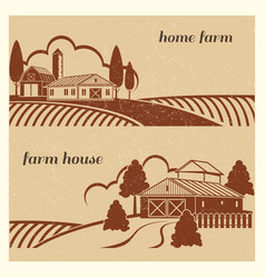 Vintage countryside landscape with farm scene - vector