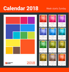 Wall calendar for 2018 year design print template vector