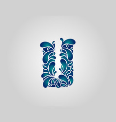 Water splash letter u logo icon droplets vector