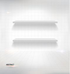 White empty shelves on white wall vector