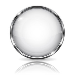 White glass 3d button with metal frame with vector