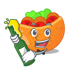 With beer pita bread filled with vegetable mascot vector