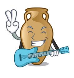 with guitar amphora mascot cartoon style vector image