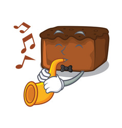 With trumpet brownies mascot cartoon style vector