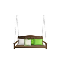 Wooden porch swing bench on ropes with pillows vector