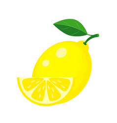 yellow lemon with green leaf and lemon slice vector image