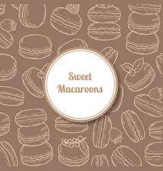background with hand drawn macaroon vector image