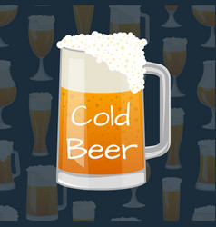 beer mug with foam in cartoon style vector image vector image