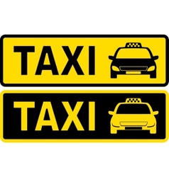 Black and yellow taxi sign vector