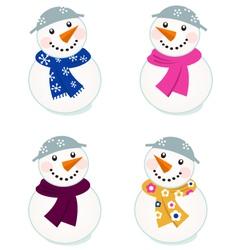 cute snowmen collection vector image vector image