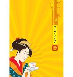Japanese Geisha - Traditional Art Style vector image vector image
