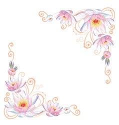 Elegant curves flower corners isolated vector image