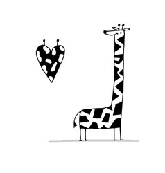 giraffe in love funny sketch for your design vector image