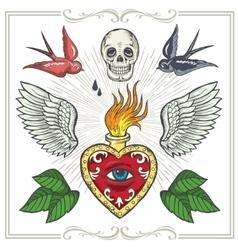 Set of Tattoo-art design elements vector image