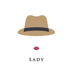 avatar girl in retro hat vector image vector image