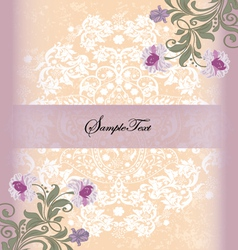 damask invitation card with purple flower vector image vector image