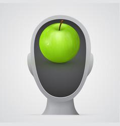green apple inside head silhouette vector image