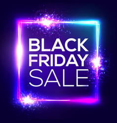 black friday sale background neon shopping sign vector image