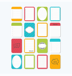 collection of various note papers template for vector image vector image