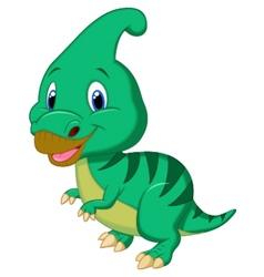 Cute dinosaur parasaurolophus cartoon vector image vector image