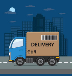 delivery truck on city background vector image vector image