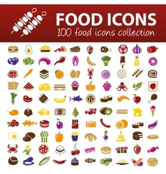 hundred food icons vector image vector image