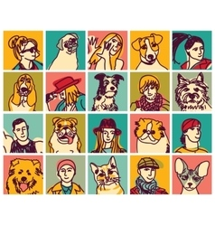 People and pets heads icons avatars set vector image vector image