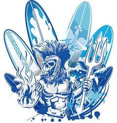 poseidon death surfer on surfboard background vector image