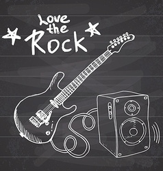 Rock Music Hand drawn sketch guitar with sound box vector image vector image