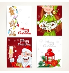 Santa Claus and Elf with gift on red and white vector image vector image
