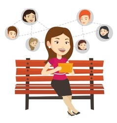 Woman surfing in the social network vector