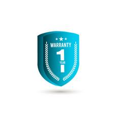 1 years warranty 3 d label logo template design vector