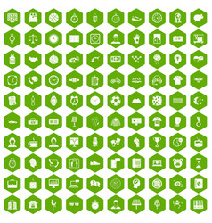 100 clock icons hexagon green vector