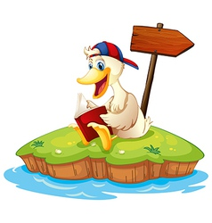A duck reading beside the empty arrowboard vector