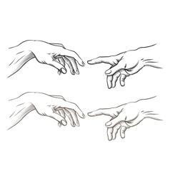 Adam hand god like creation vector