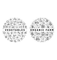 Agriculture farming and vegetable flat vector