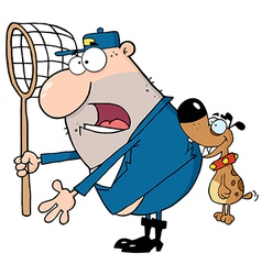 Angry Dog Biting A Dog Catcher vector image