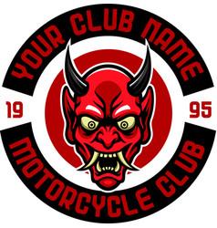 Angry japan devil motorcycle club badge vector