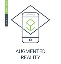 augmented reality outline icon with editable vector image