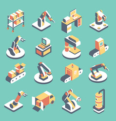 Automated production line flat isometric vector