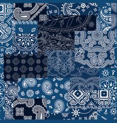 Bandana kerchief fabric patchwork vector